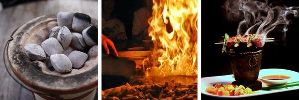 "HIBACHI (JAPAN) The hibachi ""fire bowl"" is a traditional Japanese, cylindrical, open topped container lined with a heatproof material that holds burning charcoal."