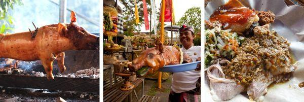 BABI GULING (INDONESIA) A famed dish from the Hindi island of Bali, babi guling consists of whole pigs seasoned with mixtures of chilies, lemongrass, ginger, galangal, and turmeric, then roasted over