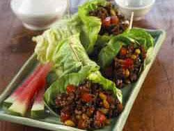 Minced Pork and Watermelon Lettuce Wraps Lettuce wraps are all the rage at Asian restaurants. Make your own at home with our easy recipe for Minced Pork and Watermelon Lettuce Wraps.