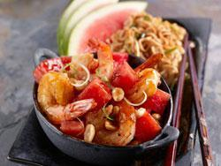 Kung Pao Watermelon Shrimp Mr. Food: Watermelon ecookbook A twist on a classic wok favorite, peanutty Kung Pao Shrimp is brightened by chunks of chopped watermelon to add flavorful excitement.
