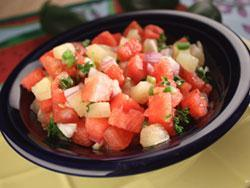 Watermelon Salsa There is no better way to beat the heat of summer than with the cool, refreshing taste of watermelon salsa.