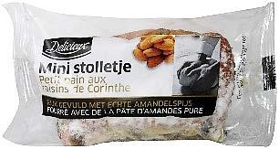 Description: Fourteen individually wrapped mini almond cakes, held in a