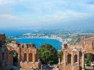 """Everything you see I owe to spaghetti."" - Sophia Loren Day 10: Friday, September 14th - Taormina Situated below Mount Etna, overlooking the sea, is an antique Mediterranean jewel."