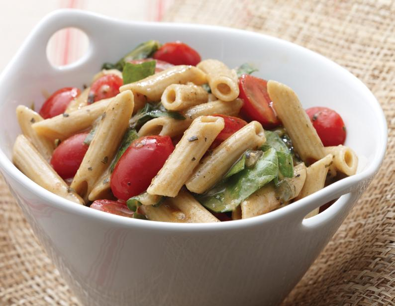 Whole Grains This colorful, whole-wheat pasta dish is accented with grape tomatoes and Swiss chard, and