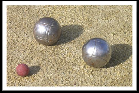 In the village some people, mostly adults, like to play pétanque although some children play too.