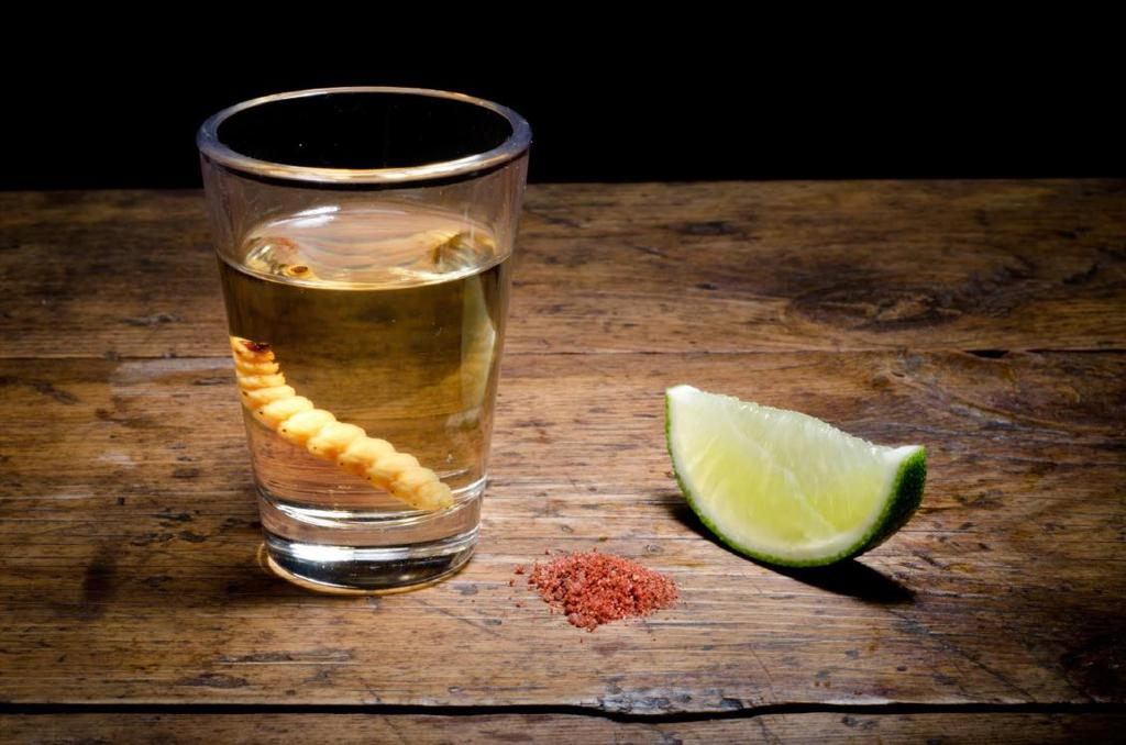 bottle. The worm must be eatten when the mezcal is running out!
