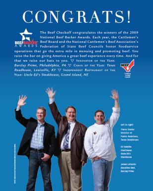 Beef Backer Awards National press release issued Congratulations Ad ran