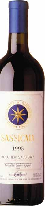 Composed of 85% Cabernet Sauvignon and 15% Cabernet Franc, Sassicaia (a name meaning the place of many stones ) is aged for 22 months in Allier and Troncais oak.