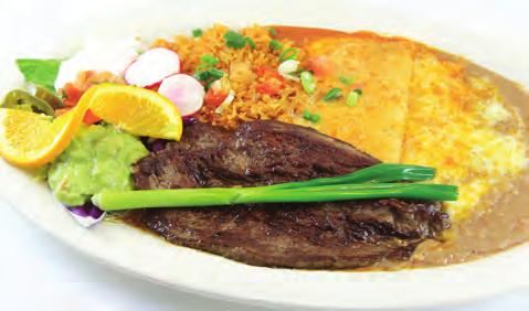 Served with a Cheese Enchilada & Chile Relleno. 15.49 STEAK PICADO Strips of Tender Flap Steak Sautéed with Onions, Tomatoes, Bell Peppers & Spices. 13.
