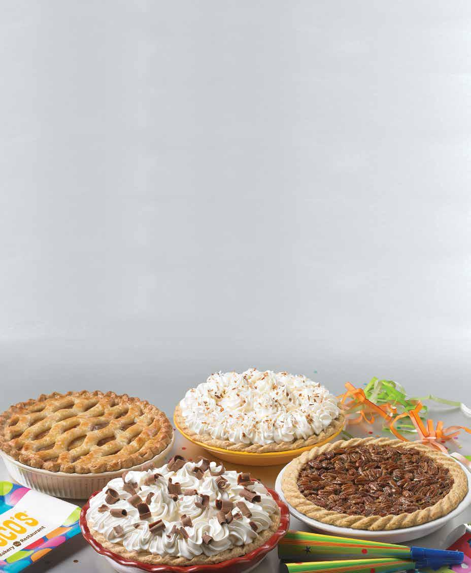 sooo many below is a sample of what we bake SEASONAL Ask your server for today s available selections. Pie variety is based upon seasonality and product availability. Ask your server for more details.