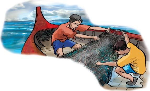 Reading for enrichment What did you think Daeng and Lek caught in the net? Read the next part of the story and find out. We must go backwards, said Daeng. Then you can pull the net into the boat.