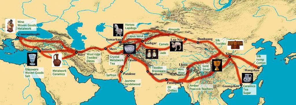 Major trade patterns of the Eastern Hemisphere from 1000 to 1500 A.D.