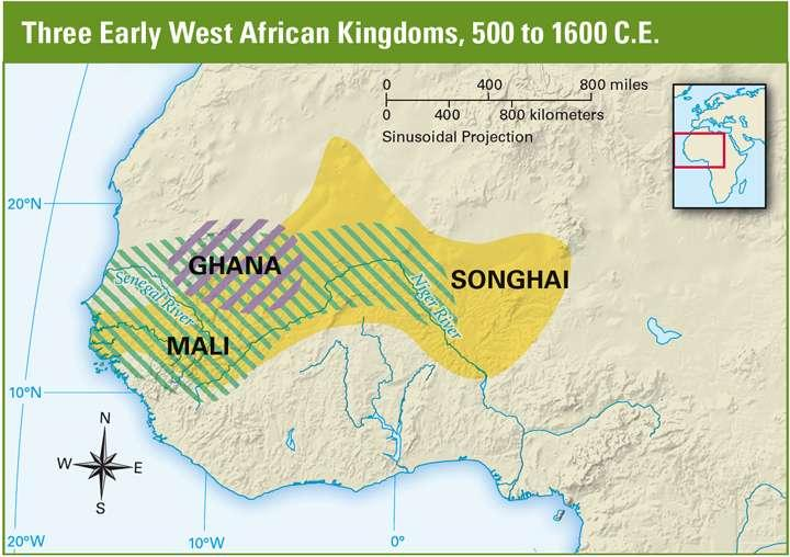 West African Kingdoms Geography Ghana, Mali, and Songhai