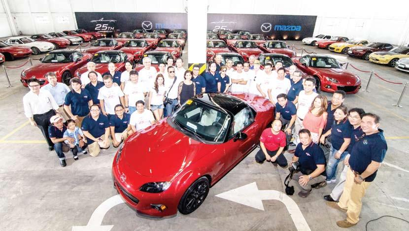 vehicles in the country, officially handed over the keys to the first fifteen owners of the Mazda MX-5 25th Anniversary Edition during a private turnover ceremony held with members of the Miata Club