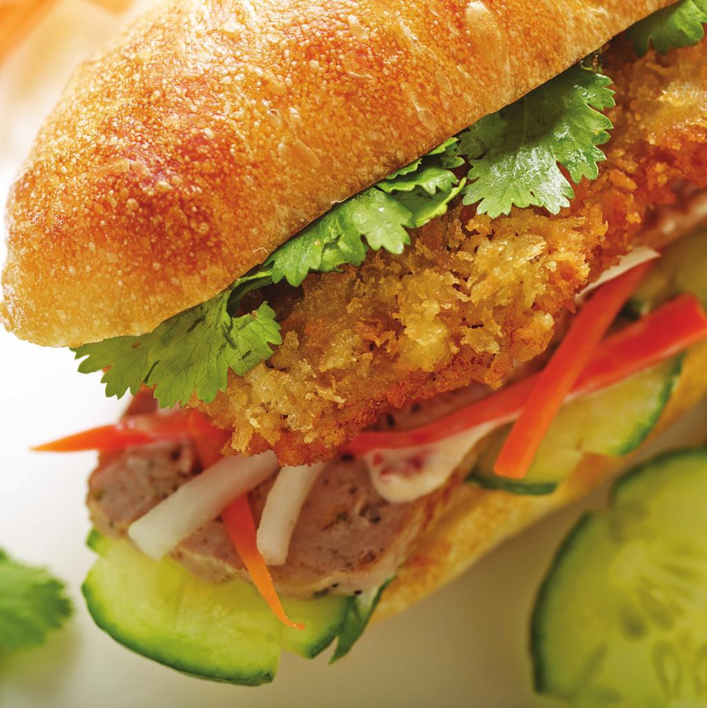 Veal Banh Mi Sandwich makes 4 servings Meatloaf: 1 ounce Bread, crust removed, cut into cubes 2 ounces Milk 1 teaspoon Vegetable oil 1 ounce Onions, small dice 1/2 teaspoon Garlic, minced 1 pound