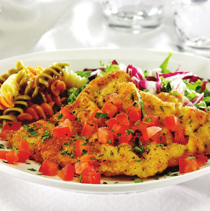 Easy Veal Milanese makes 4 servings 1 pound veal leg cutlets, cut 1/8 to 1/4 inch thick 1 egg 2 tablespoons water 2/3 cup seasoned dry bread crumbs 3 tablespoons grated Parmesan cheese 2 tablespoons