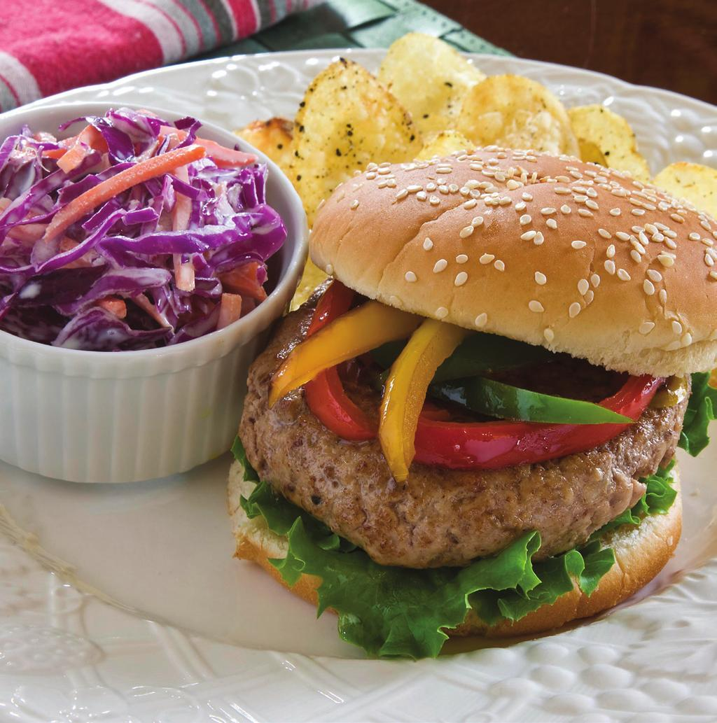 Veal Burger with Sautéed Peppers makes 6 servings 1-1/2 pounds ground veal 1 egg, slightly beaten 3 tablespoons finely chopped onion 1/2 teaspoon coarse grind black pepper 1/2 teaspoon salt 1-1/2