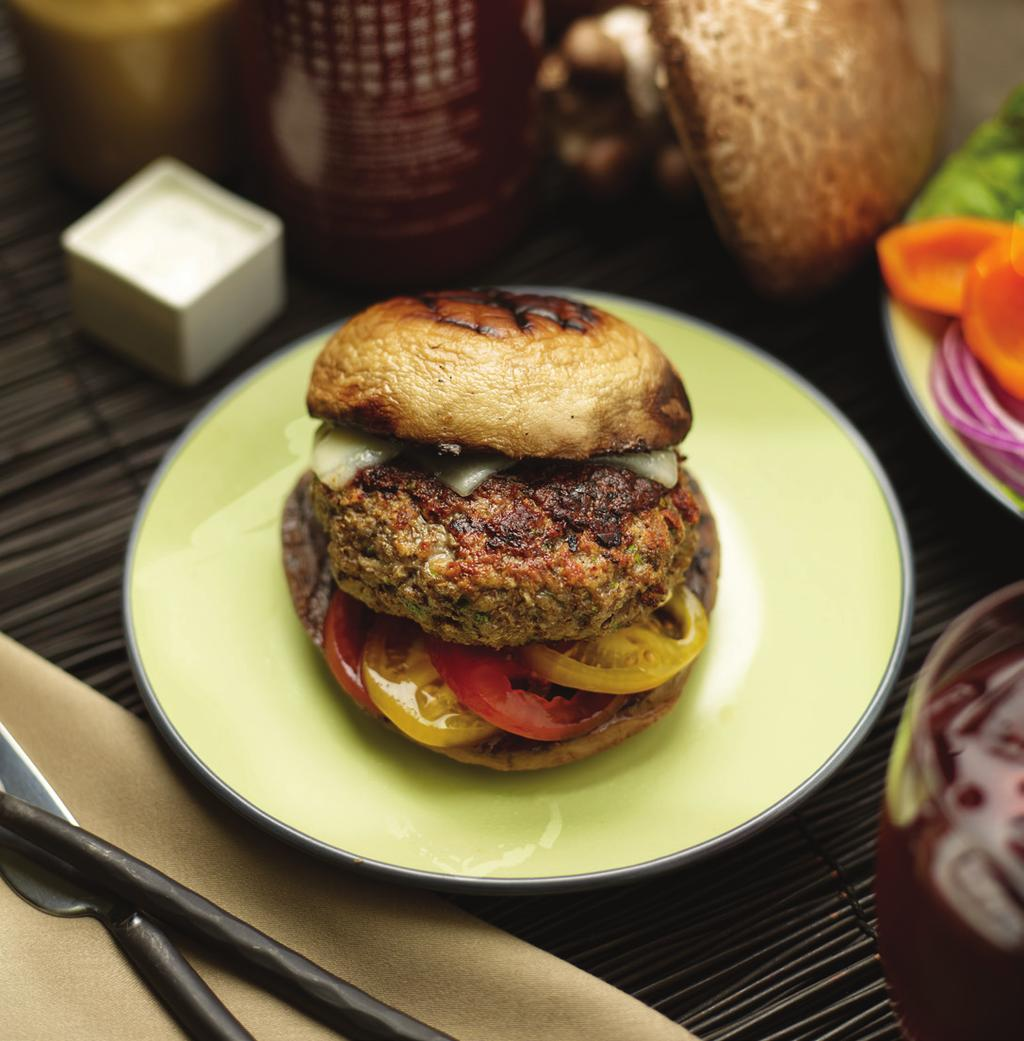 Veal and Portobello Mushroom Blend Burger Yield: 4-6 Portobello Mushroom Caps: 12 Portobello mushrooms 4 Tablespoons Canola oil 3 Tablespoons Worcestershire black pepper blend 16 ounces Veal, ground
