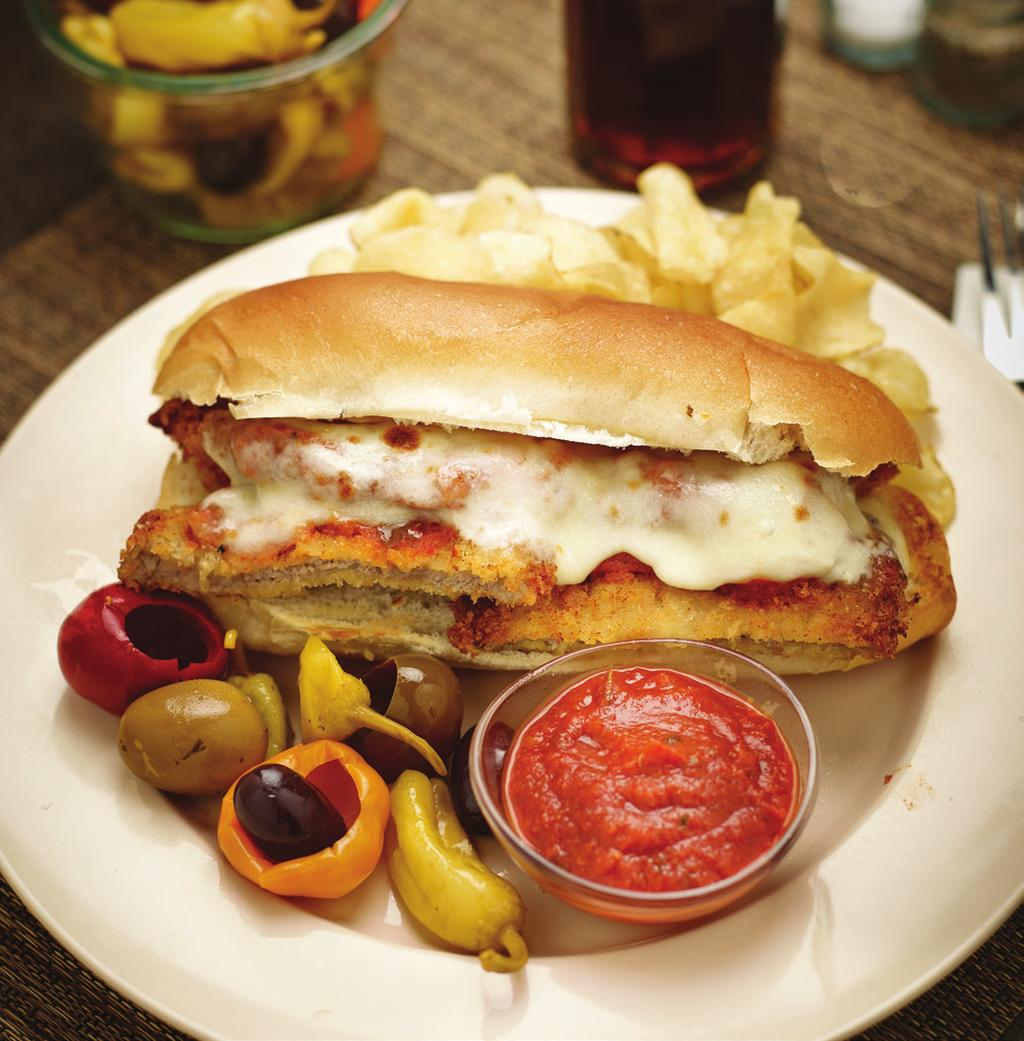 Classic Veal Parmesan Sandwich Yield: 6 portions 6 Veal cutlets, 3 ounces each Salt to taste Ground black pepper to taste 1/2 cup (or as needed) All-purpose flour 1 Egg 1 cup (or as needed)