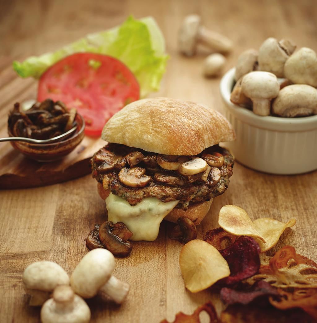Muenster Stuffed Veal and Mushroom Burger Makes 4-6 burgers 16 ounces Veal Ground 8 ounces White Button Mushrooms, chopped fine 3 ounces Bread Crumbs 3 ounces Milk 1 tablespoon Garlic Powder 1