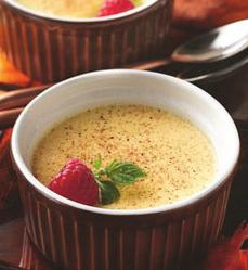 Eggnog Pots de Crème PREP TIME: 5 min TOTAL TIME: 8 hrs 5 min MAKES: 6 servings ½ cups dairy eggnog / cup half-and-half egg yolks teaspoons cornstarch / teaspoon rum flavor Ground nutmeg In -quart
