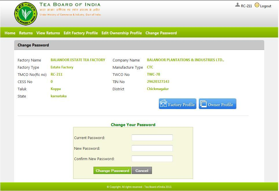 STEP -7 CHANGE PASSWORD : In the case of maintaining privacy