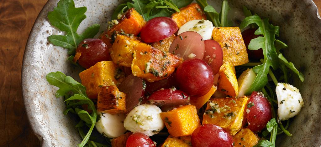 Roasted Squash and Grape Salad with Pesto Makes 4 servings Grapes star as the sweet, crisp foil to the caramelized butternut squash in this wonderful warm salad.