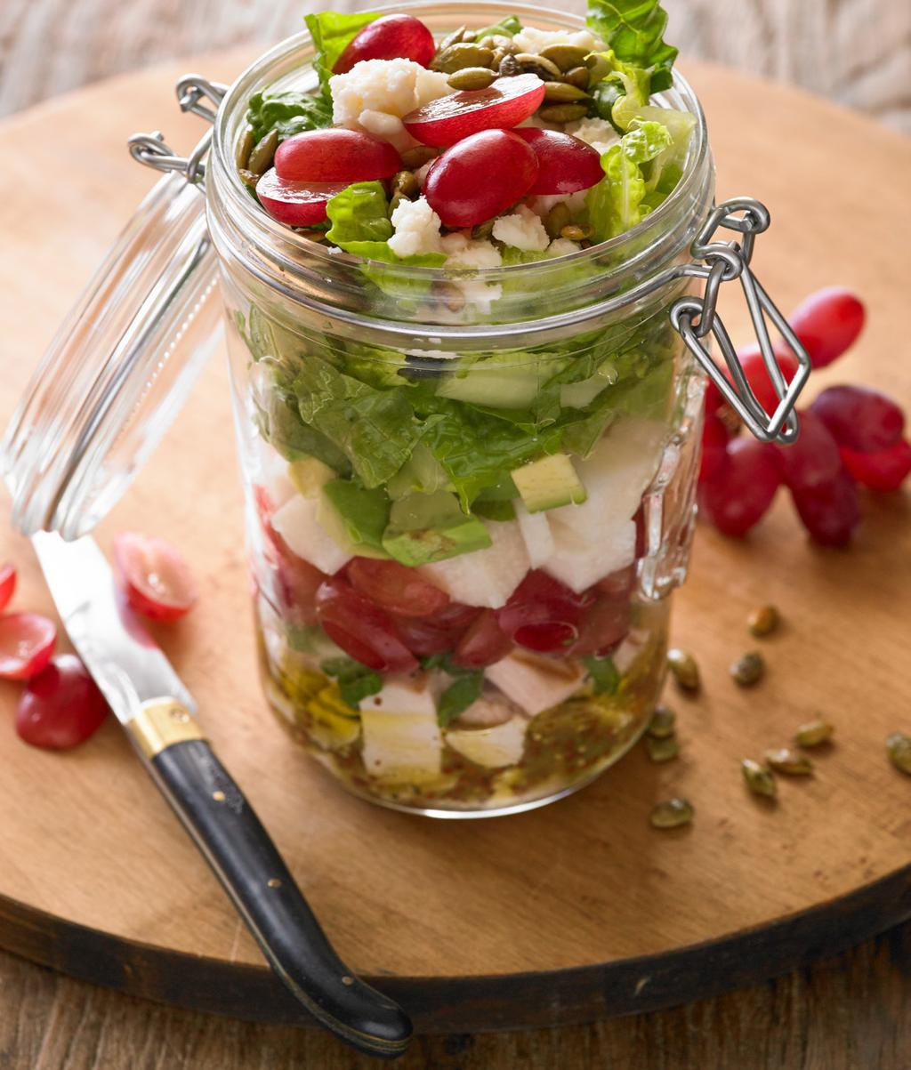 Layered Latin Salad Jars Makes 4 servings Shake and serve this salad is ready to go!