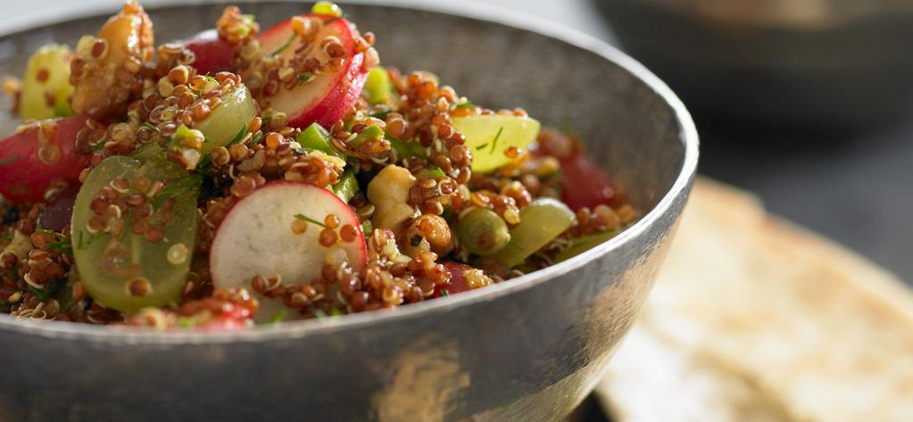 Quinoa and Grape Curry Salad Makes 6 servings Texture, flavor, color this lively salad has it all.