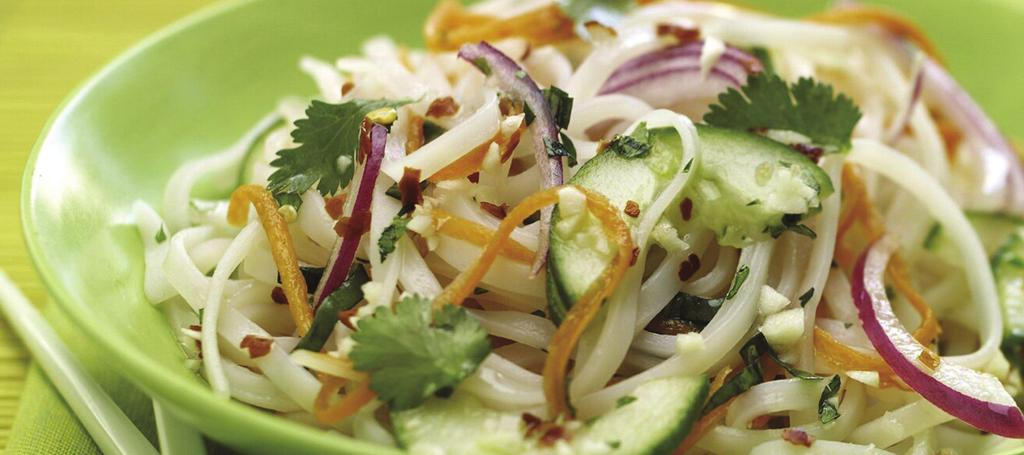 Cold Rice Noodle Salad Spicy Lime Vinaigrette: ¼ cup fresh lime juice ¼ cup rice vinegar ¼ cup sugar 1 Tbsp. Thai Kitchen Premium Fish Sauce 2 tsp. minced garlic ½ tsp.