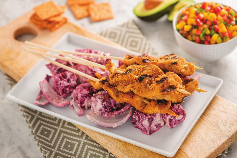 Grilled Beet Chicken Kebabs 1. Heat grill to medium heat. Soak 8 6 wooden skewers in water for 15 minutes. 2. Coat one side of a large piece of aluminum foil with cooking spray.