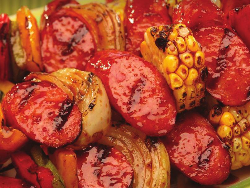 Smoked Sausage Kabobs 1. Preheat the grill to medium high. 2. Cut the sausages on the diagonal into 1½ pieces. 3. Thread the sausage and vegetables alternately onto skewers. Set aside. 4.