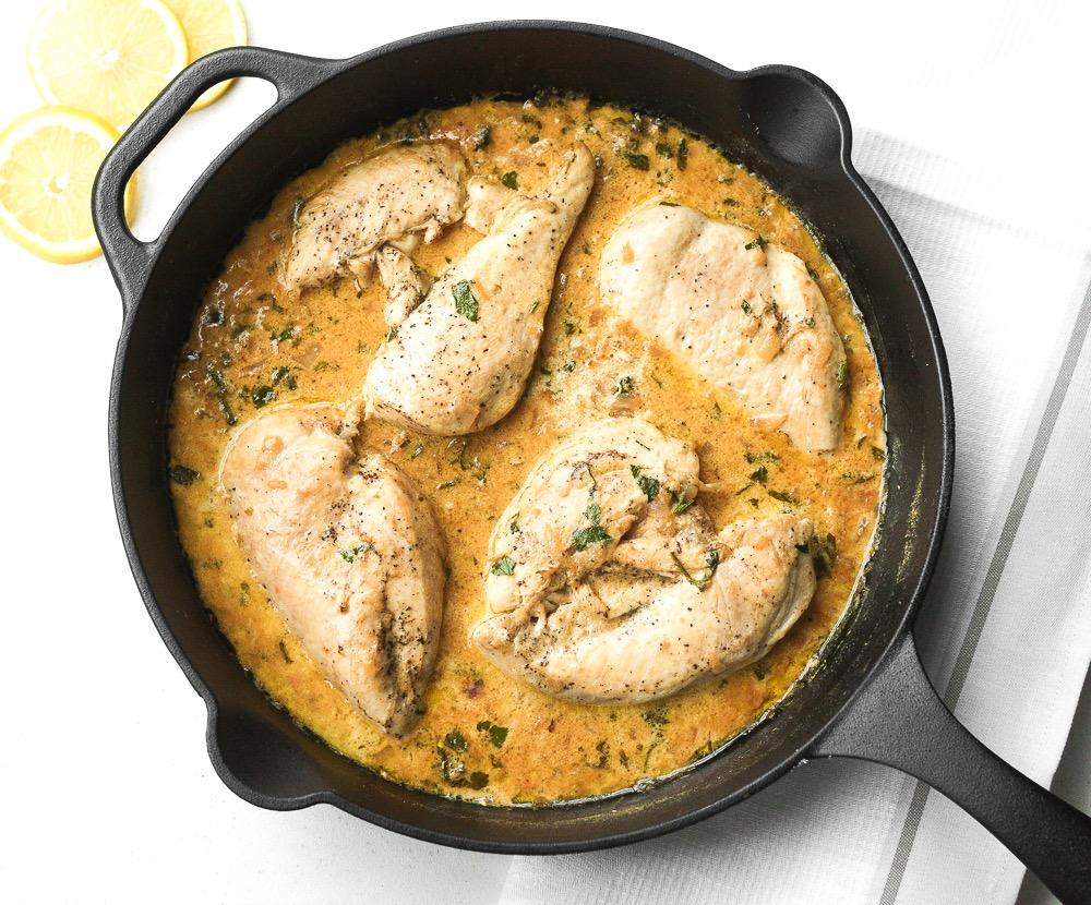 THE PERFECT SKILLET CHICKEN WITH LEMON 2 boneless, skinless chicken breasts, sliced horizontally (about 1.3 lbs.