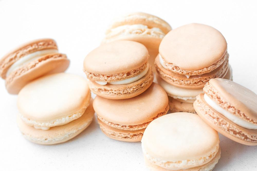 CLASSIC FRENCH MACARON WITH VANILLA BUTTERCREAM FILLING Macaron Shells: 3/4 cup almond flour 1 cup confectioners' sugar 2 large egg whites, at room temperature 1/4 cup granulated sugar 1/2 teaspoon