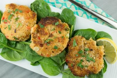 Shrimp Cakes Total Time: 20 minutes Cook Time: 20 minutes Calories 335 Carbohydrate 10g Protein 28g Fat 21g 1 pound(s) shrimp peeled and de-veined 1 medium bell pepper(s), red finely chopped 1 medium