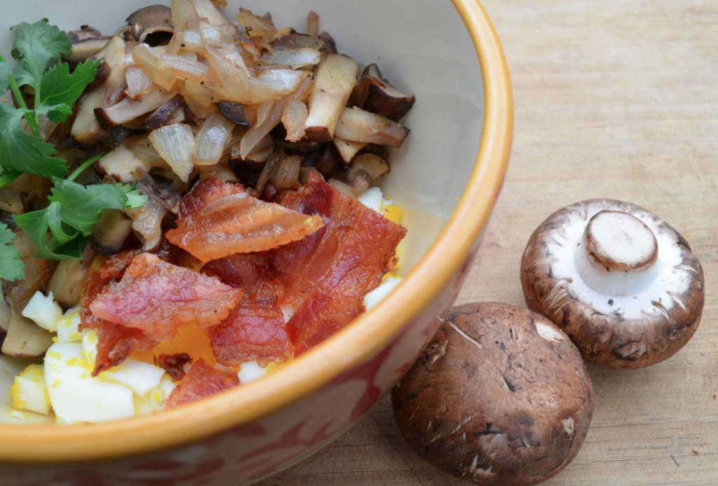 PRINT: Week Plan Recipes - Paleo Plan Myra s Chopped Mushrooms, Eggs and Onion Total Time: 30 minutes Calories 348 Cook Time: 30 minutes Carbohydrate 4g Protein 12g Fat 33g 8 slice(s) bacon (save