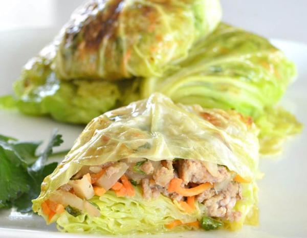 Asian-Style Cabbage Wraps Servings 2 Total Time: 65 minutes Cook Time: 65 minutes Calories 371 Carbohydrate 14.5g Protein 51.6g Fat 12.