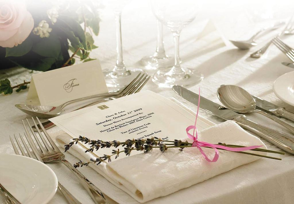 Plated Wedding Options The following menus include staff to set up, serve and clear, crockery and cutlery and VAT at 20%. Prices may vary if the wedding is based in a marquee.