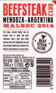 screen mesh on an uncoated stock. Collotype Labels - Daventry Beefsteak Club, 2014 Malbec To produce a paper booklet label with a detachable token.