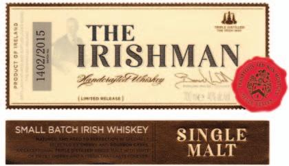 Labels - Daventry The Irishman Single Malt Whiskey using one rotary hot foil in