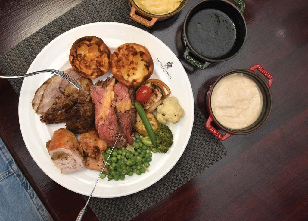 Weekend Roast Roast side of beef, roast chicken breast (with sage & onion stuffing) and slow-cooked lamb shoulder.