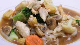 MEE GROB LAD NAH Deep fried crispy rice noodle topped with fresh vegetables and house gravy sauce No.44 PAD BAH MEE 46.