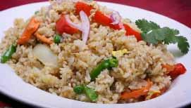 KAOW PAD Stir-fried rice, peas, carrot, bell peppers, onion and egg topped with cucumber and red onion 48. KAOW PLOW (Steam rice) ($1.