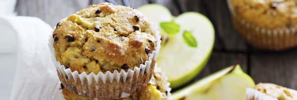 Apple Muffins 15 60 190 2 eggs, lightly beaten ½ cup whole grain self-rising flour ½ cup white self-rising flour 1 pinch ground nutmeg 2 oz unsalted butter ⅓ cup raw sugar 1 cup old fashioned oats 1