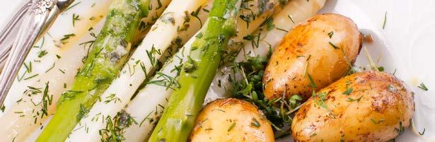 Baked Potatoes with Asparagus 70 570 2 ⅔ tbsp flour 1 ⅔ cups milk ¼ lb cheddar cheese, grated 1 ½ oz butter 8 ¾ oz fresh asparagus, cut into 1½ inch lengths ¾ oz ground almonds, toasted large