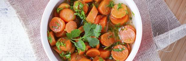 Lemon Carrots with Parsley 5 66 1 tbsp lemon juice 1 lb carrots, peeled and thinly sliced ¼ cup cilantro or parsley, chopped ½ tsp lemon zest 1 tbsp unsalted butter Place carrots in a steamer basket