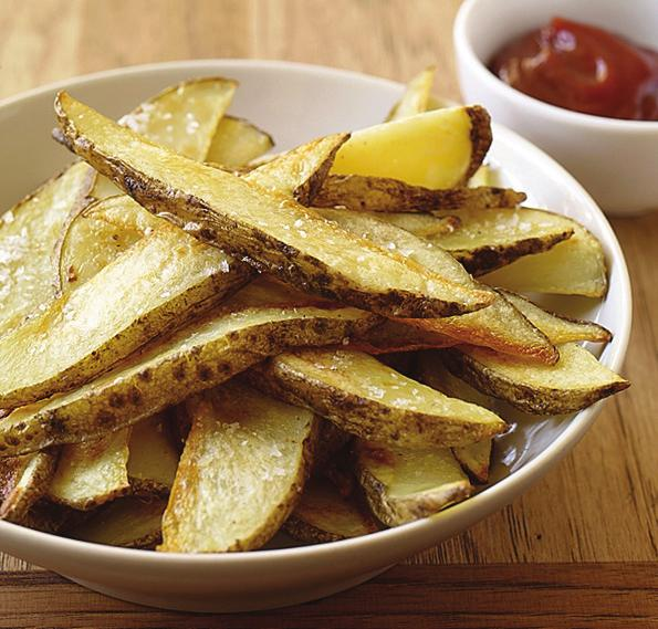 Family-Friendly Menu Oven Fries PointsPlus value: 4 Servings: 4 Prep time: 10 minutes Cook time: 45 minutes 2 large uncooked potato(es), baking-variety, cut into 16 long wedges each 1 Tbsp canola oil