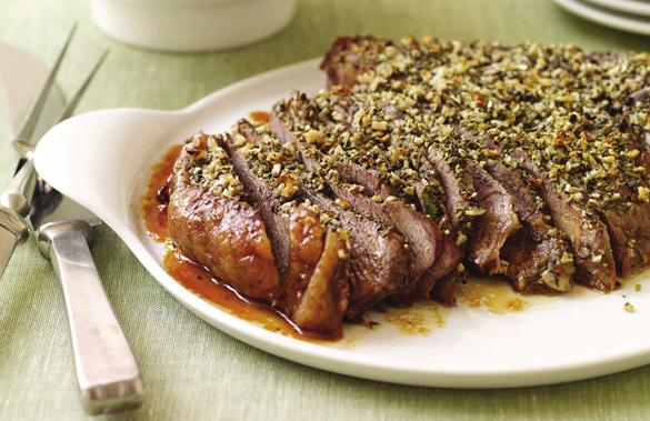 Steakhouse-Worthy Menu Roasted Sirloin Beef PointsPlus value: 4 Servings: 8 Prep time: 10 minutes Cook time: 20 minutes 2 spray(s) cooking spray 2 pound(s) uncooked lean trimmed sirloin beef 1 tsp