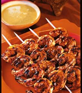 6 MEXICAN-GRILLED SHRIMP WITH SMOKY SWEET SAUCE Make this zesty Mexican seafood recipe for a summer appetizer or a fragrant main dish; simply serve with rice and a vegetable for a complete meal.