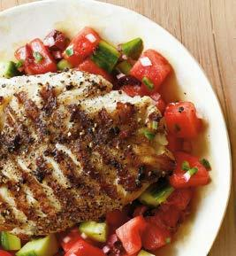7 GRILLED GROUPER WITH WATERMELON SALSA Try this twist: For a sandwich option, serve fish and salsa in pita pockets. Yield: Makes 4 servings 4 (4-oz.